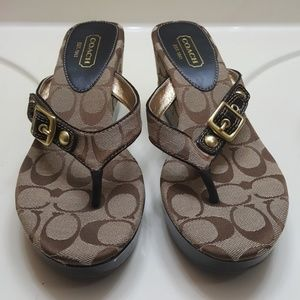Coach wedge thong sandals
